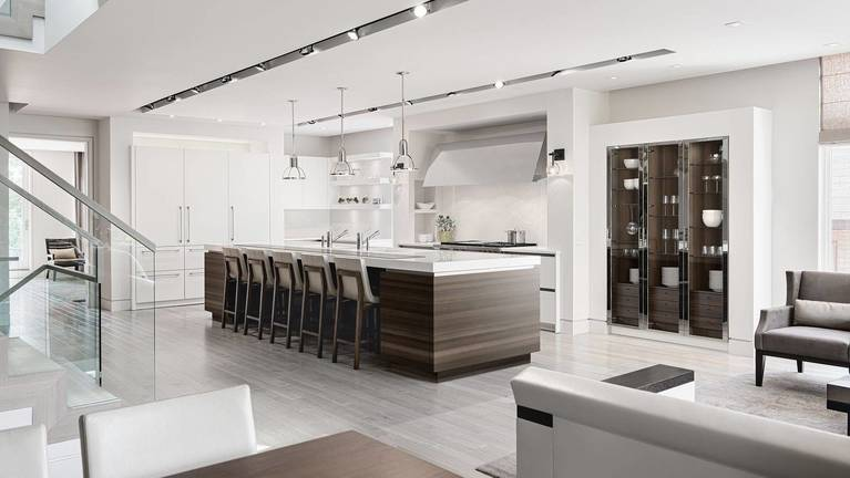 SieMatic Classic SE S2 in lotus white with wide kitchen island and dine-in bar in smoked oak