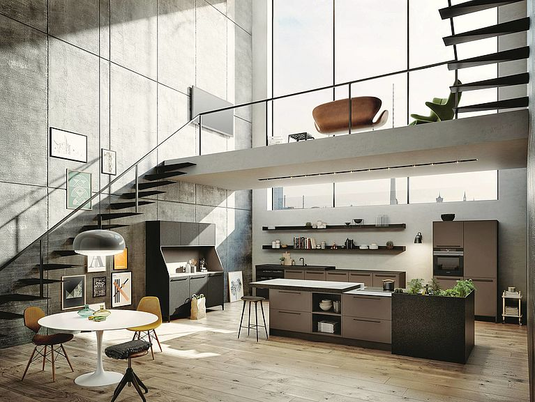 SieMatic Urban SE open-concept kitchen in umbra with island, herb garden and SieMatic 29 kitchen buffet