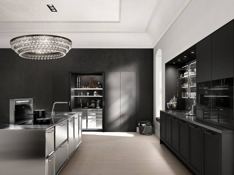SieMatic Classic BeauxArts SE in black matte oak with integrated coffee and tea station in the wall