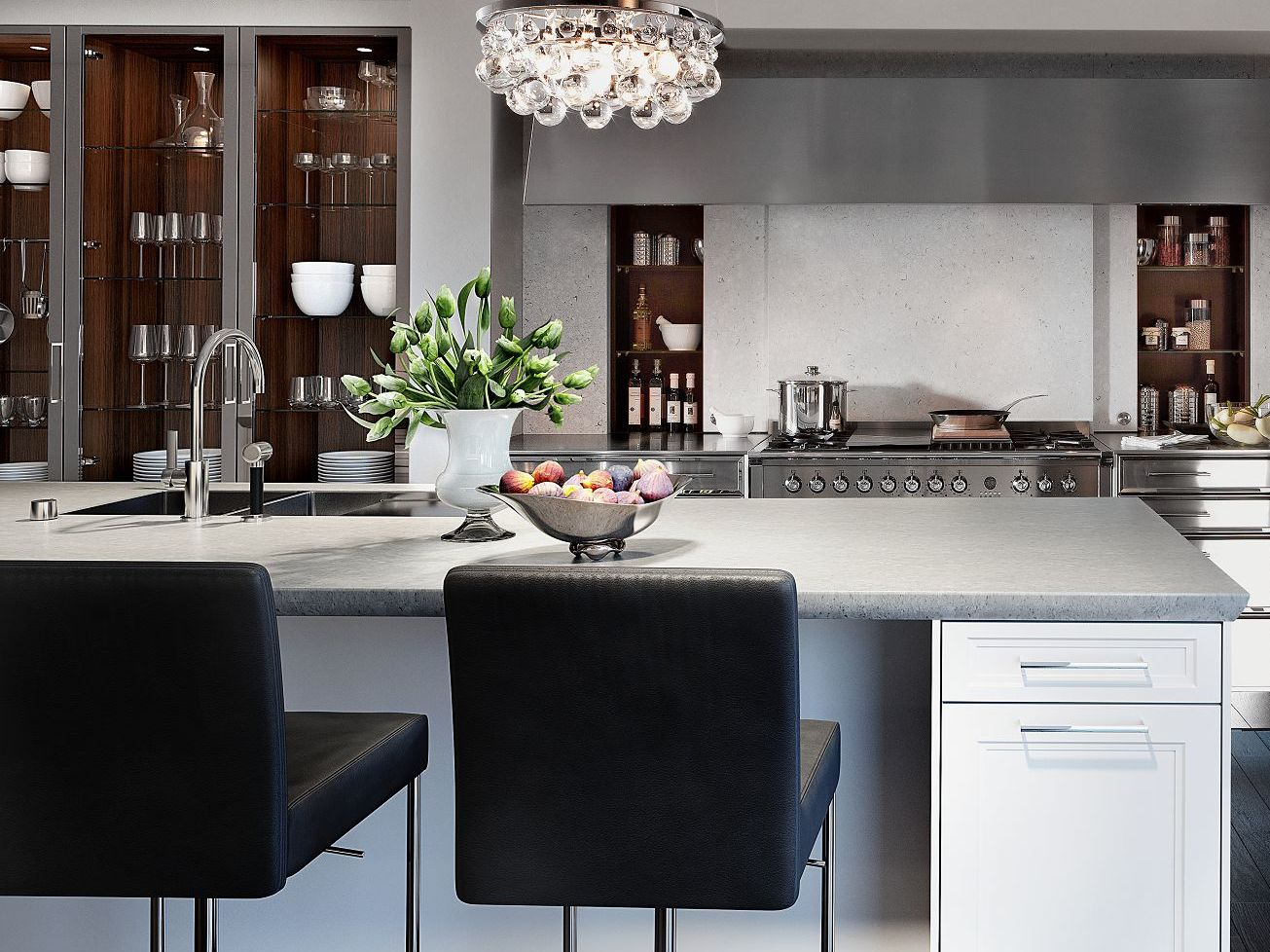SieMatic Classic BeauxArts S2 in lotus white and nickel with exclusive StoneDesign kitchen countertop