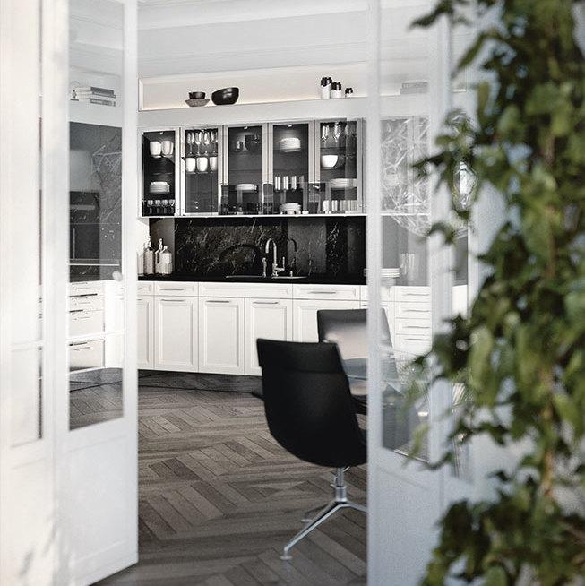 Armarios inferiores SieMatic Classic BeauxArts SE en blanco loto brillo, con revestimiento de entrepaño de mármol negro.