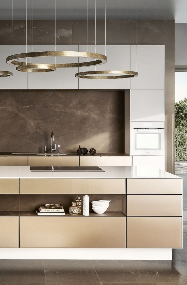 SieMatic Pure SE 3003 R kitchen in lotus white and gold bronze with island   SieMatic Kitchen Interior Design of Timeless Elegance. Siematic Kitchen Designs. Home Design Ideas