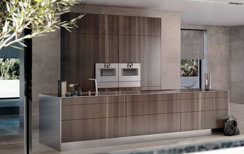 Küchendesign, das die Qualität der Materialien betont