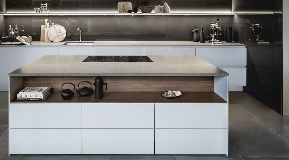 SieMatic Pure S2 SE kitchen island in grey with integrated downdraft extractor