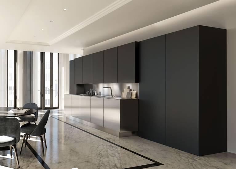 Placard haut d'une cuisine SieMatic SE de l'univers de style Pure en laque mate gris graphite avec traitement AntiPrint.