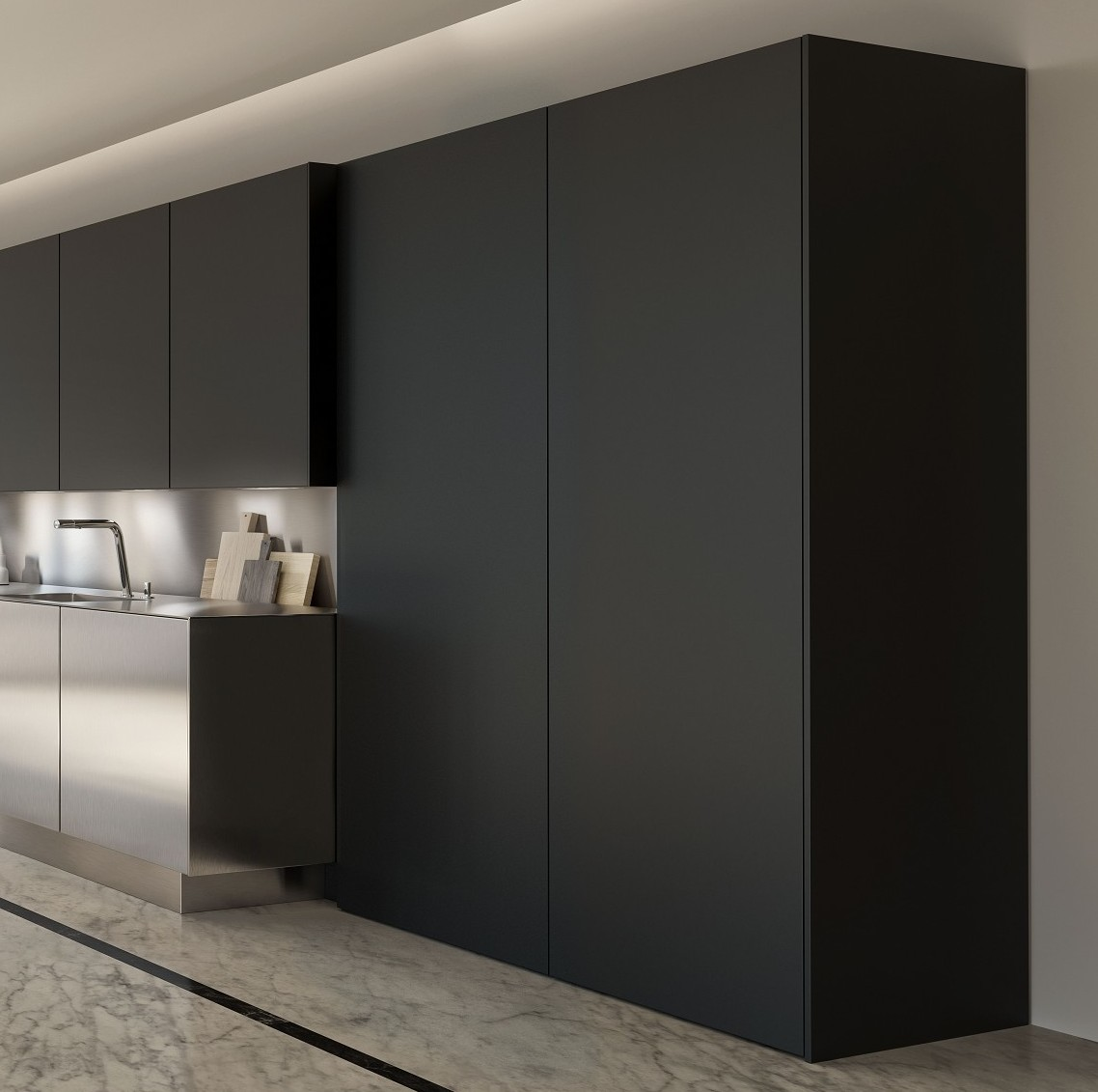 SieMatic SE cabinets from the Pure style collection in graphite grey matte lacquer with AntiPrint coating