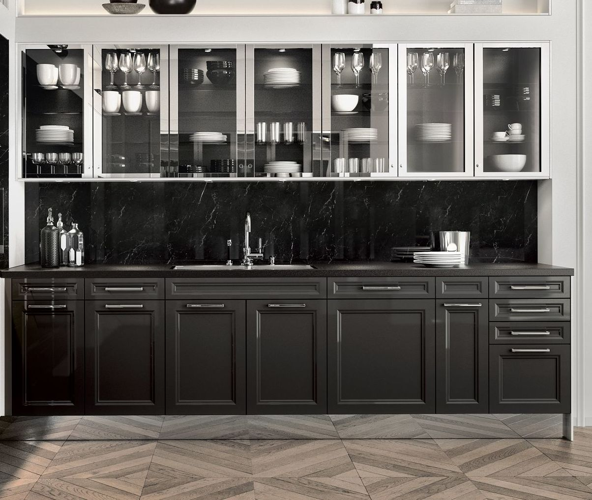 SieMatic Classic BeauxArts SE base cabinets in graphite grey and glass wall cabinets in polished nickel