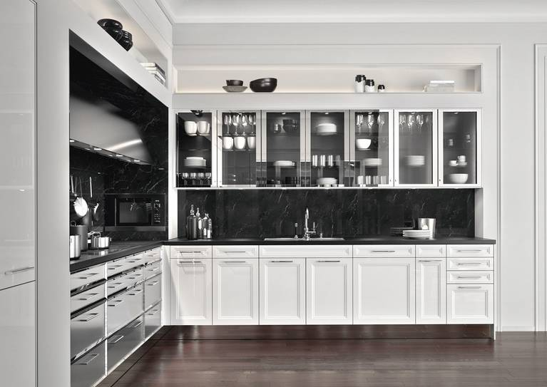 SieMatic Classic BeauxArts SE base cabinets in brushed stainless steel with polished nickel frame