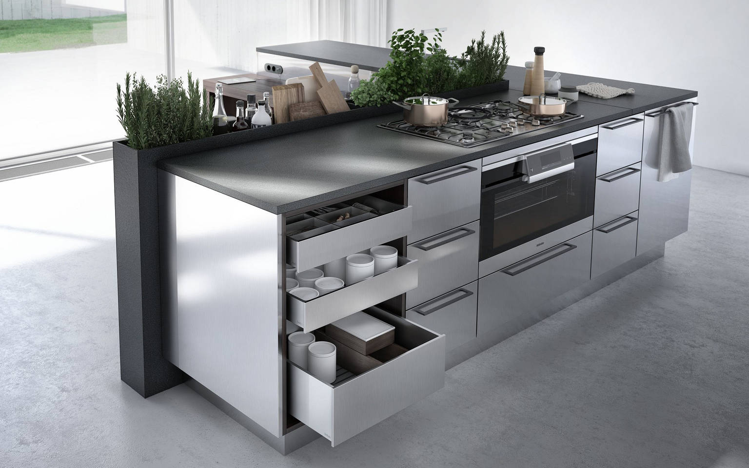 SieMatic Urban SE kitchen island in L shape with open drawers, herb garden and breakfast bar