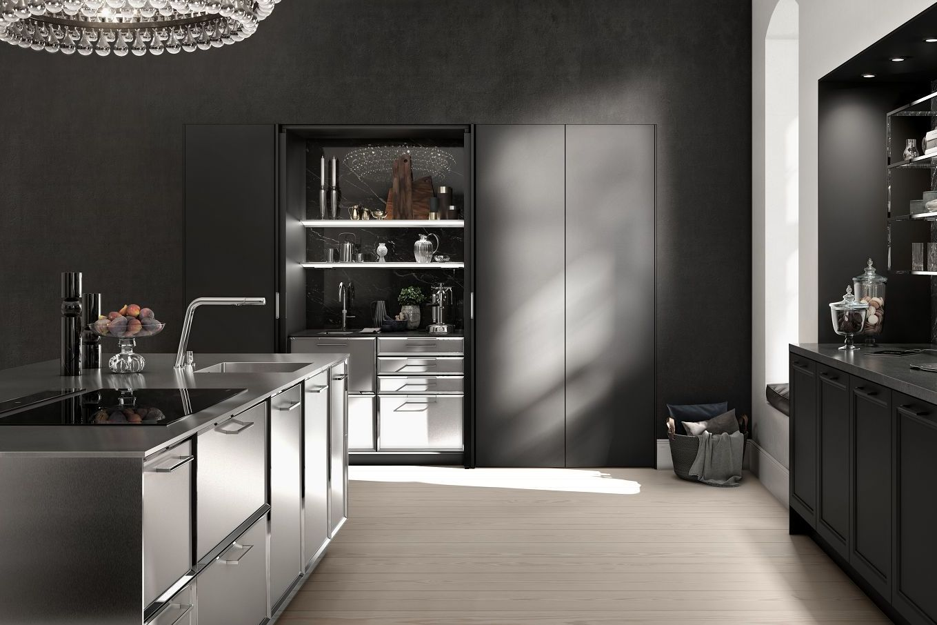 SieMatic Classic BeauxArts SE kitchen island with faceted door fronts and extensive stainless steel