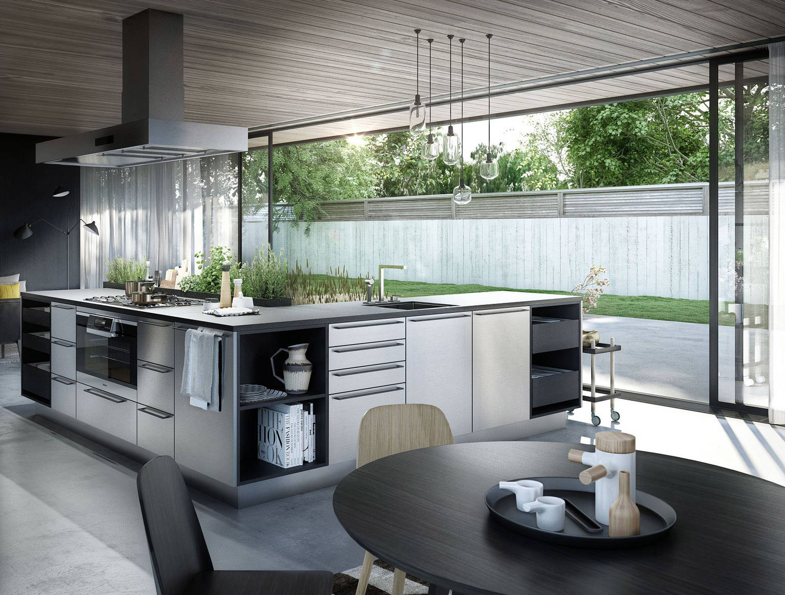 SieMatic Urban SE kitchen island in graphite oak and stainless steel with herb garden and breakfast bar
