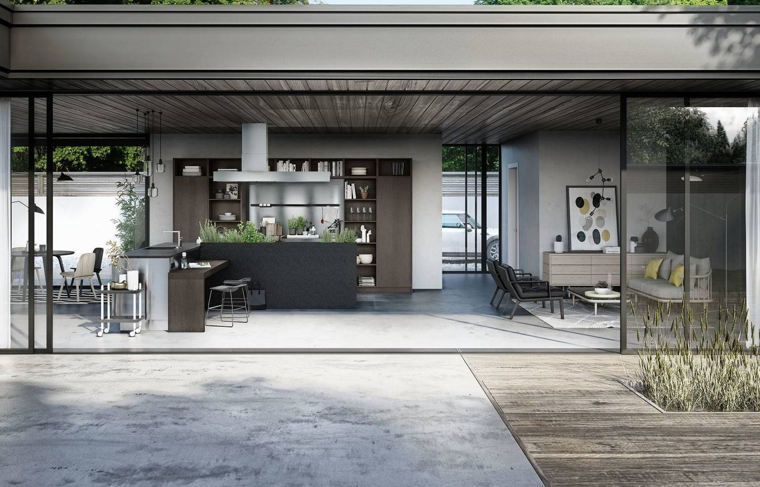 SieMatic Urban SE in graphite oak with stainless steel, L-shaped kitchen island