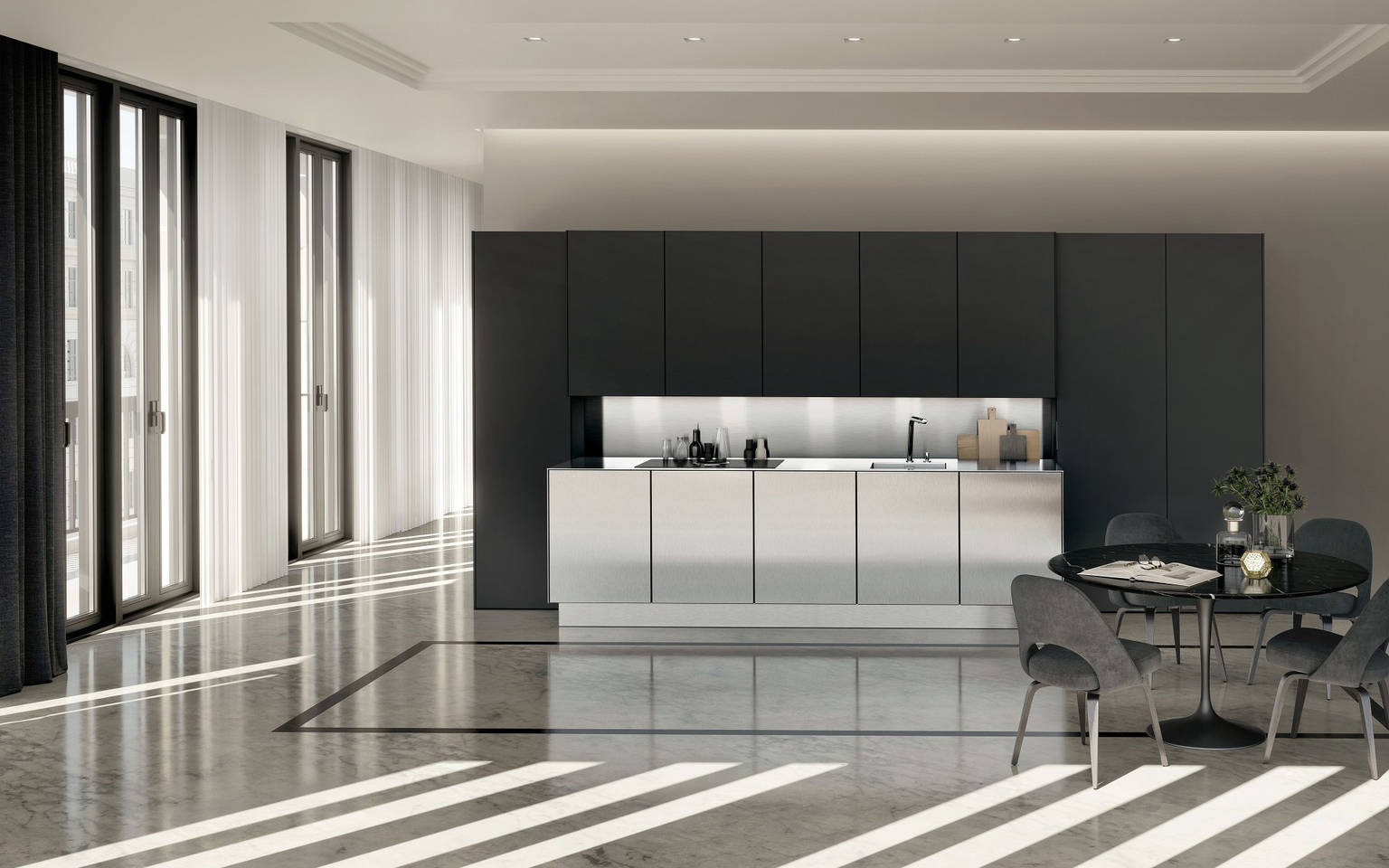 SieMatic Pure SE with cabinets in stainless steel and graphite grey matte lacquer finishes
