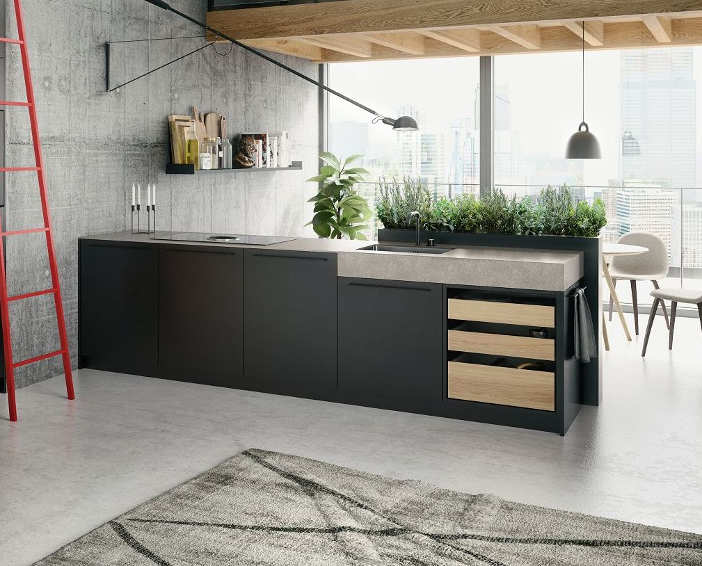 SieMatic Urban SE Kitchen Island In Grey With Open Drawers In Sand Oak  Veneer And Downdraft ...