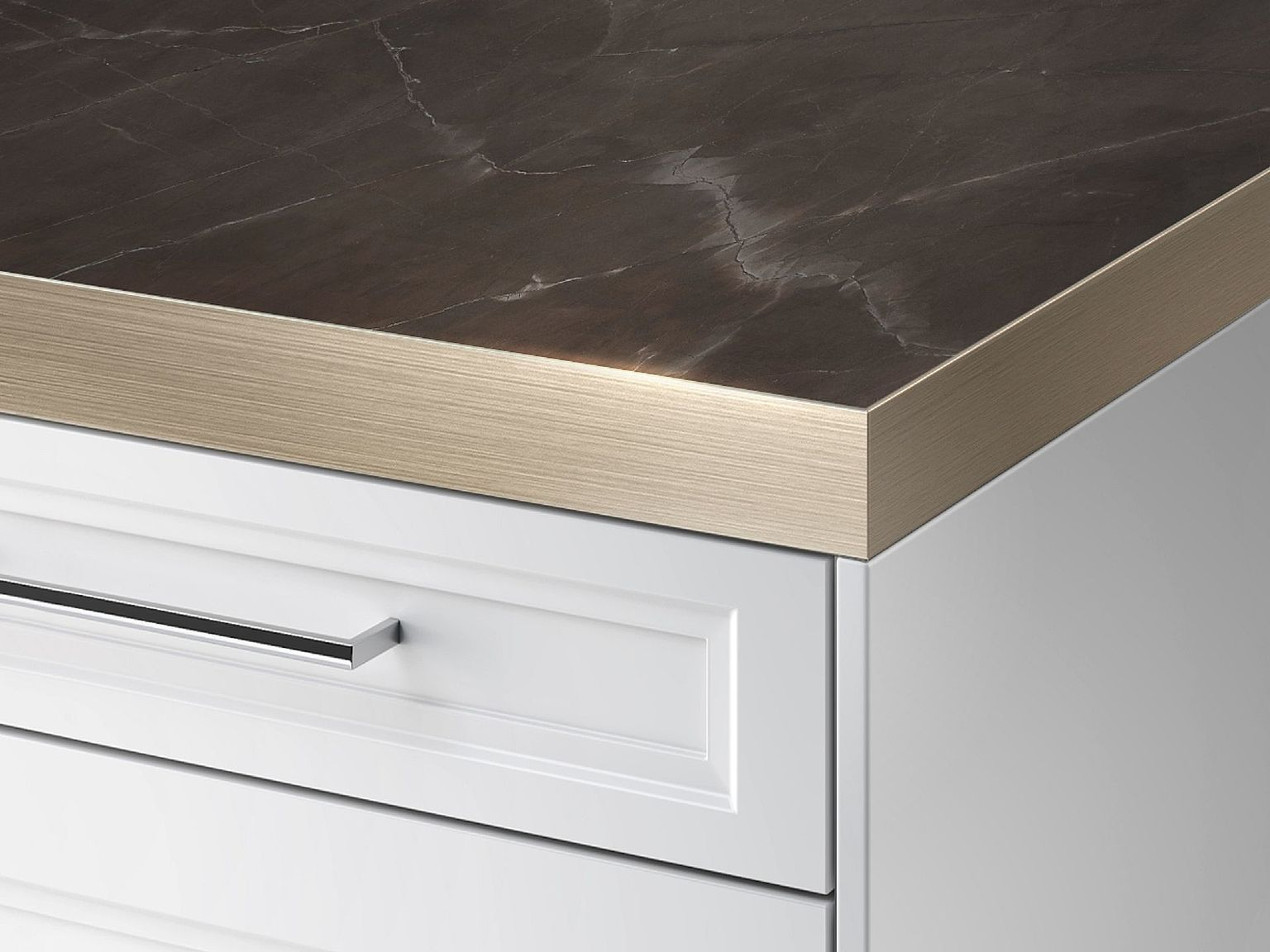 SieMatic StoneDesign kitchen countertop with metal edge.