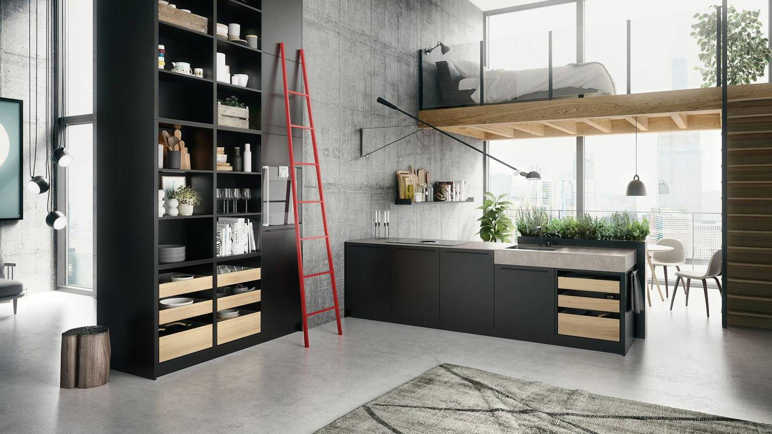 SieMatic Urban SE kitchen in graphite grey with floor-to-ceiling shelving, island and herb garden