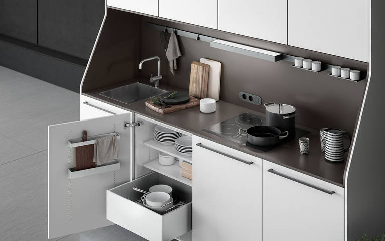 High-quality countertop designs available for the SieMatic 29 kitchen sideboard from the Urban style collection