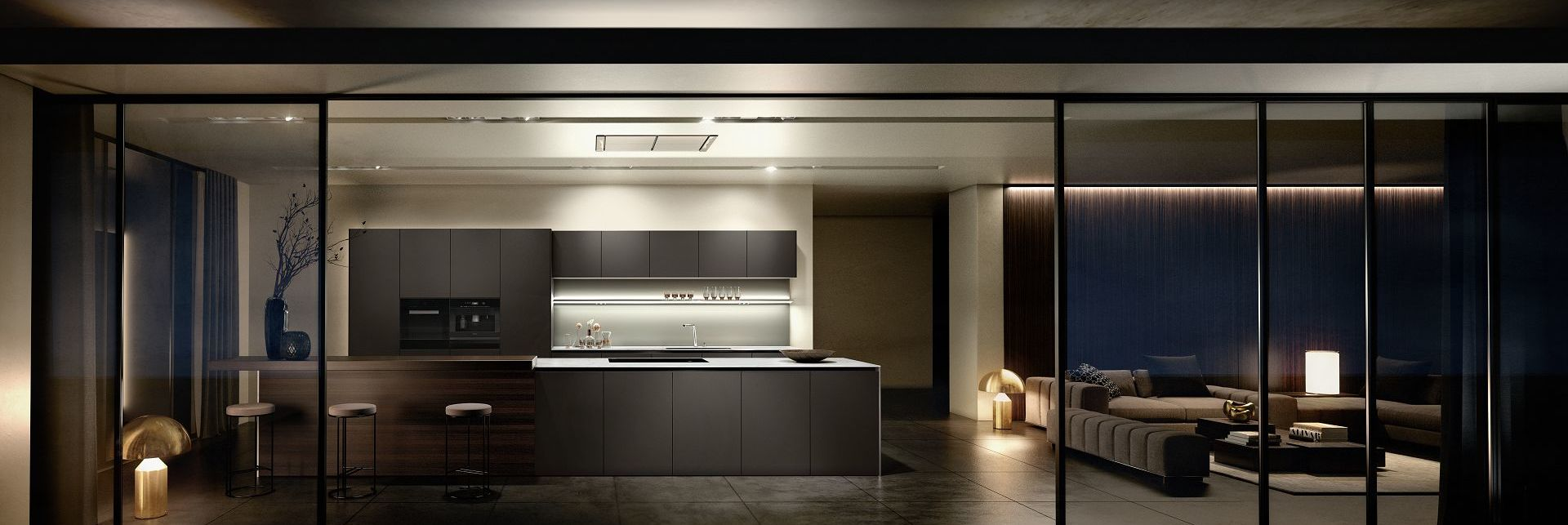 SieMatic Pure S2 SE kitchen island with prep area as well as raised breakfast bar in smoked oak