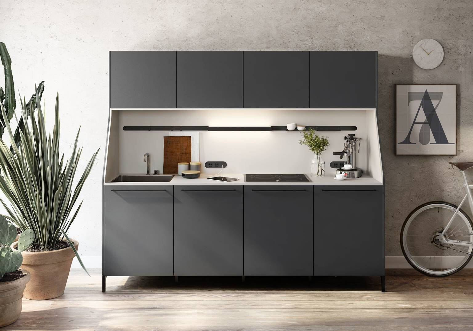 SieMatic 29 kitchen sideboard from the Urban style collection in graphite grey with sink and stovetop