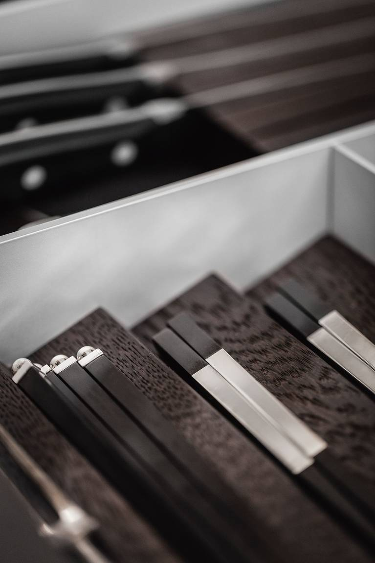 Small item trays for SieMatic kitchen drawer interiors are ideal for smaller items.