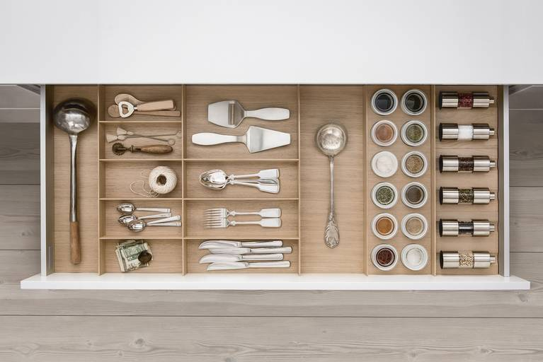 Spice jars and mills from SieMatic wooden interior accessories for the kitchen
