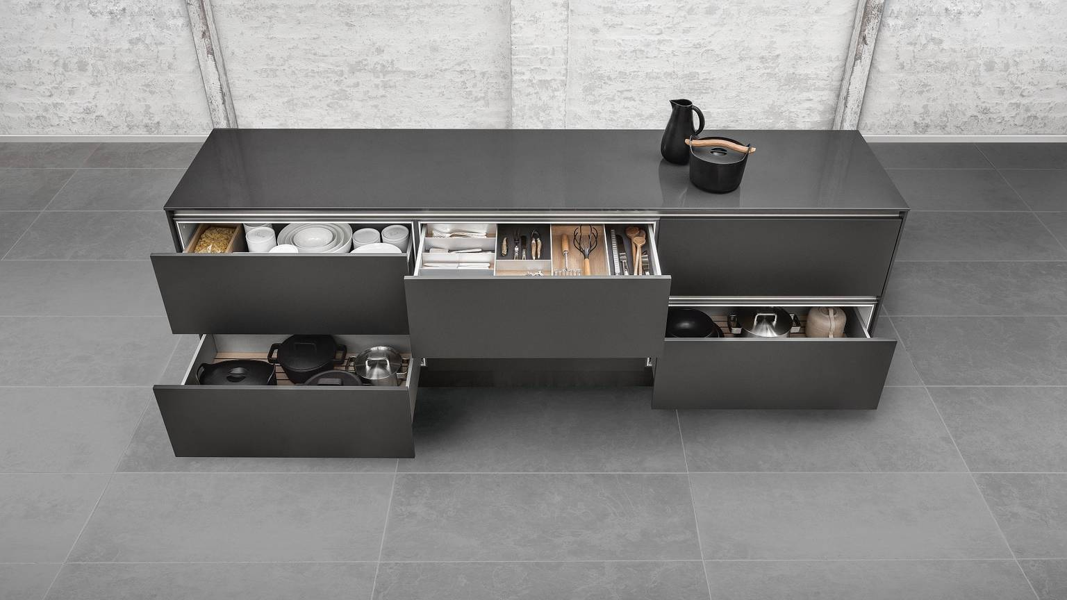 Versatile variations of kitchen accessories are available from SieMatic,