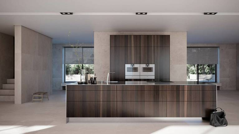 SieMatic Pure SE kitchen in smoked oak veneer with island