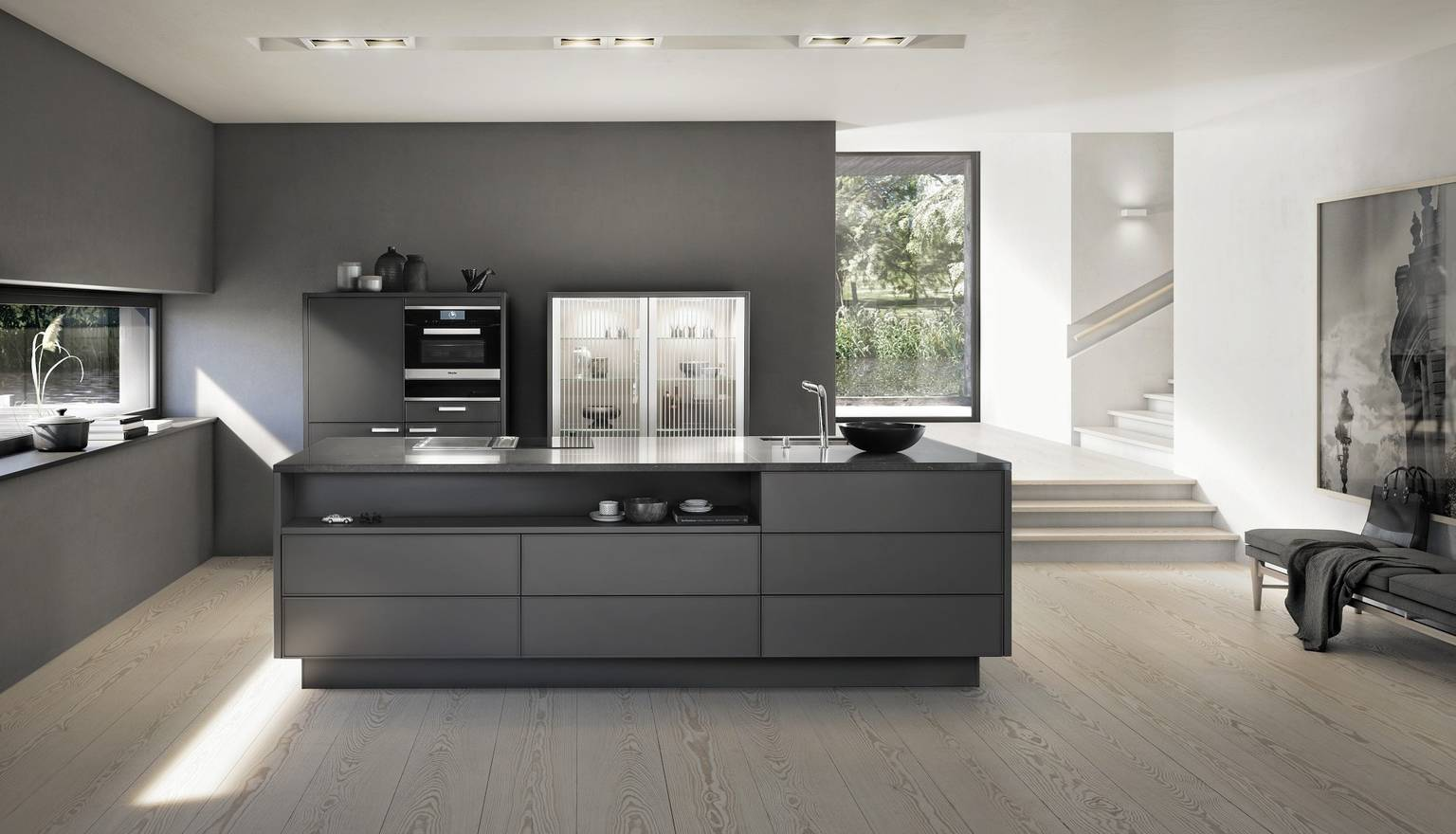 Guarda la SieMatic Pure SE 3003 R in laccato opaco umbra con isola.