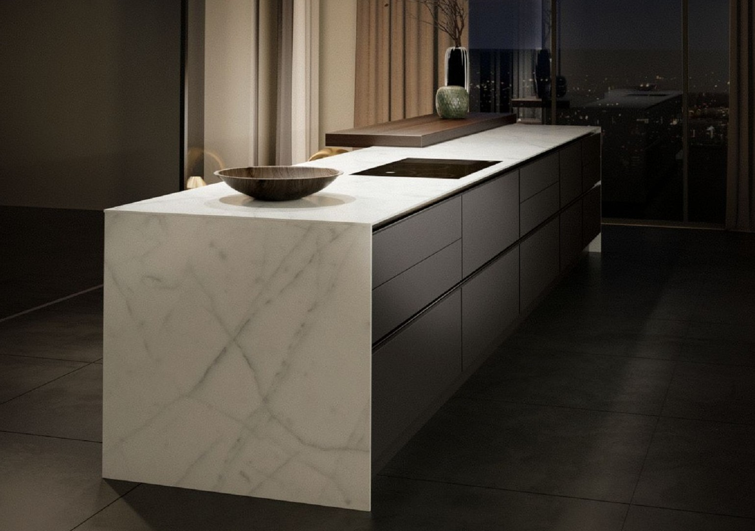 Spacious SieMatic Pure S2 SE kitchen island with 1 cm countertop and side panels in marble