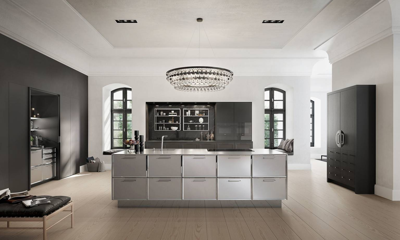 SieMatic Classic BeauxArts SE in black matte oak with kitchen island and Chinese wedding cabinet