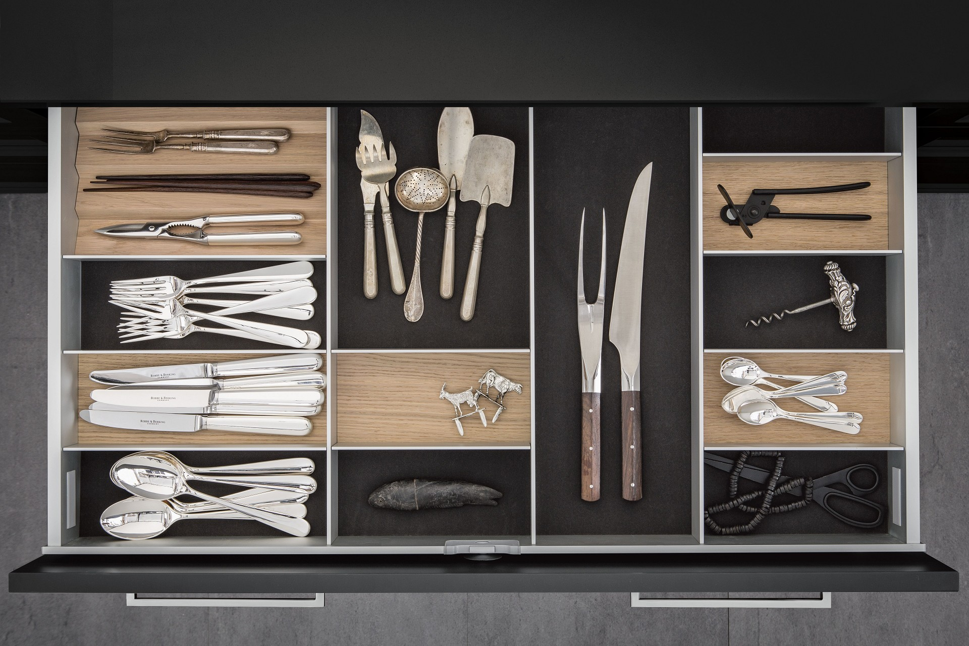 kitchen drawers. Cutlery Inserts In Light Oak On Dark Grey Flocked Mats SieMatic Kitchen  Drawer Kitchen Interior Accessories By Individual Innovative