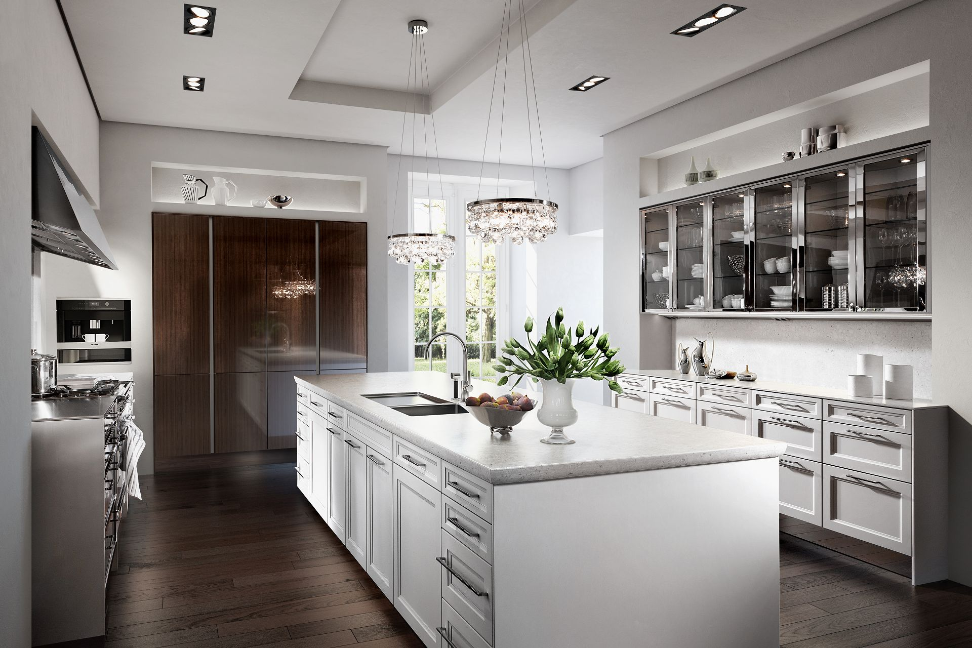 SieMatic Classic BeauxArts S2 in lotus white and nickel with kitchen island and faceted door fronts