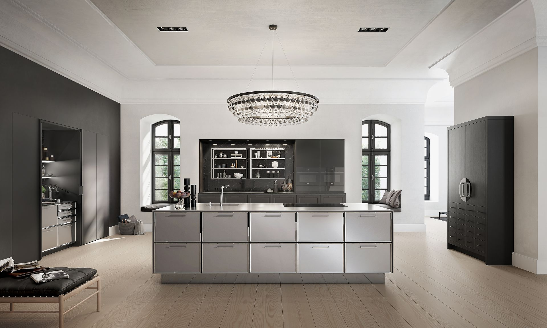 SieMatic Classic BeauxArts SE in black matte oak with kitchen island and  Chinese wedding cabinet  SieMatic Classic  the traditional kitchen in a new composition. Siematic Kitchen Designs. Home Design Ideas