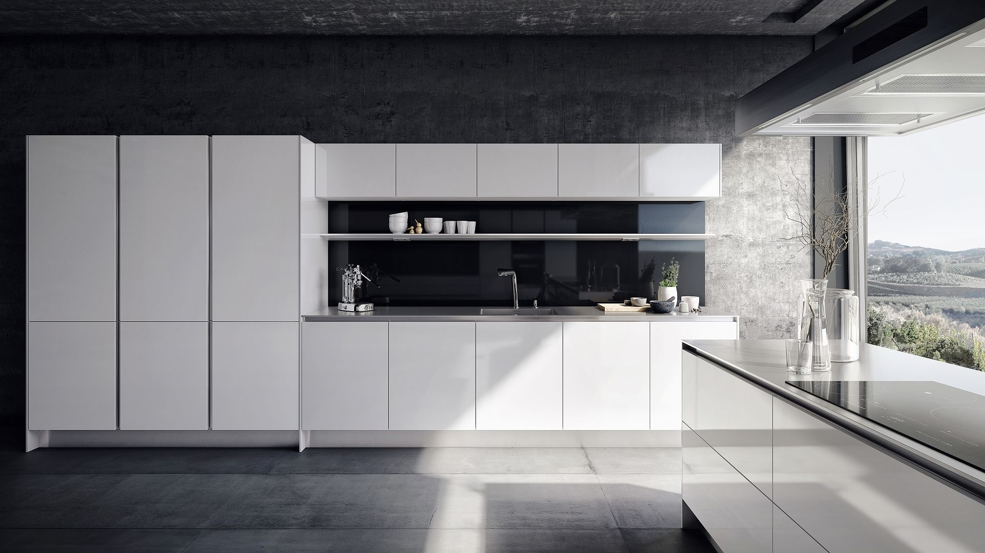 Kitchen from the SieMatic Pure style collection in glossy lotus white with countertop appearing 1 cm thick in stainless steel