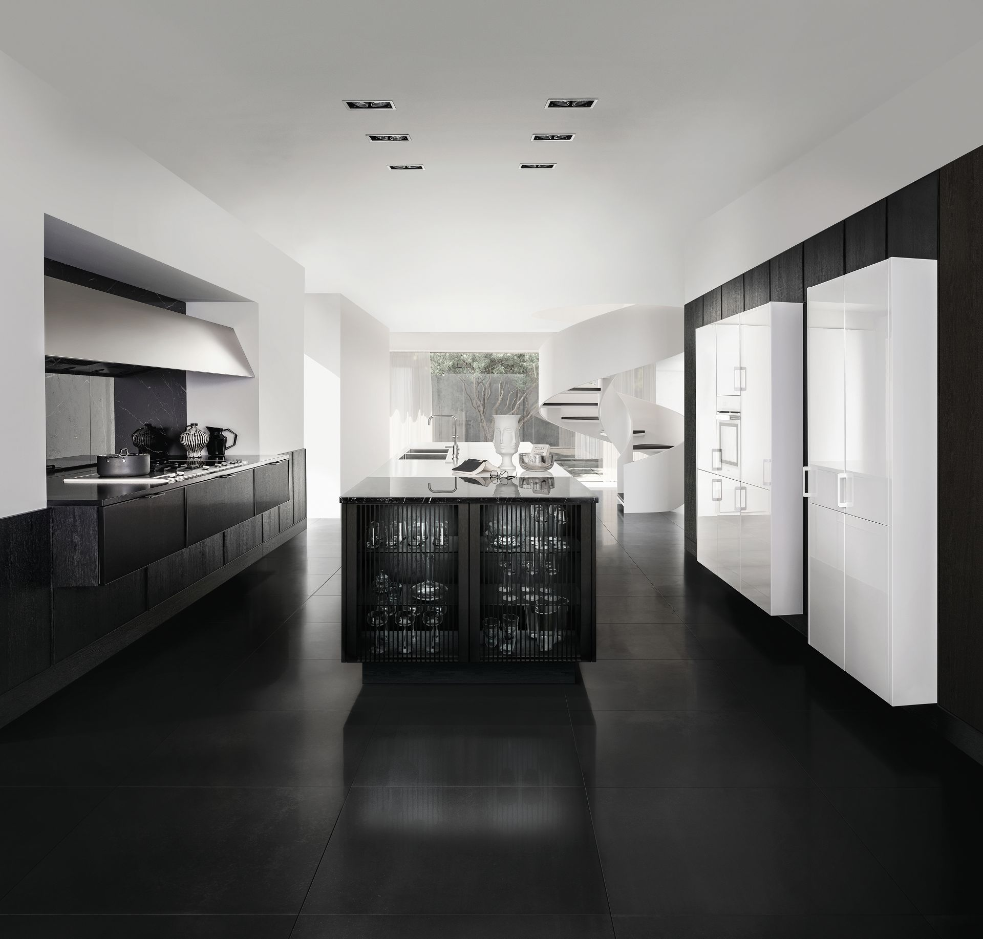 SieMatic Pure SE 3003 R in titan white and black matte oak with kitchen island