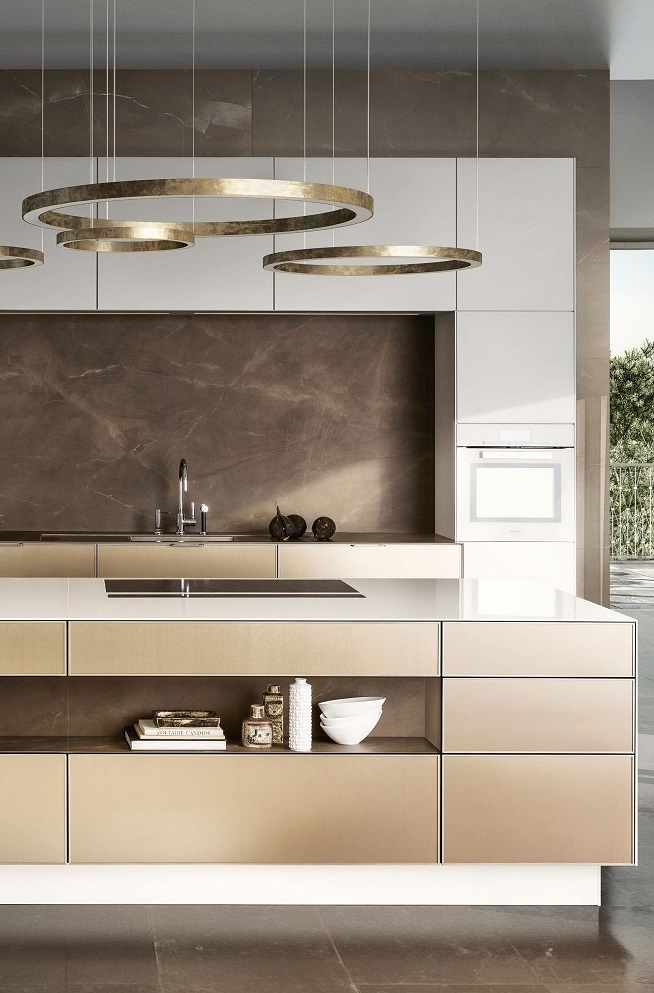 ... SieMatic Pure SE 3003 R Kitchen In Lotus White And Gold Bronze With  Island ...