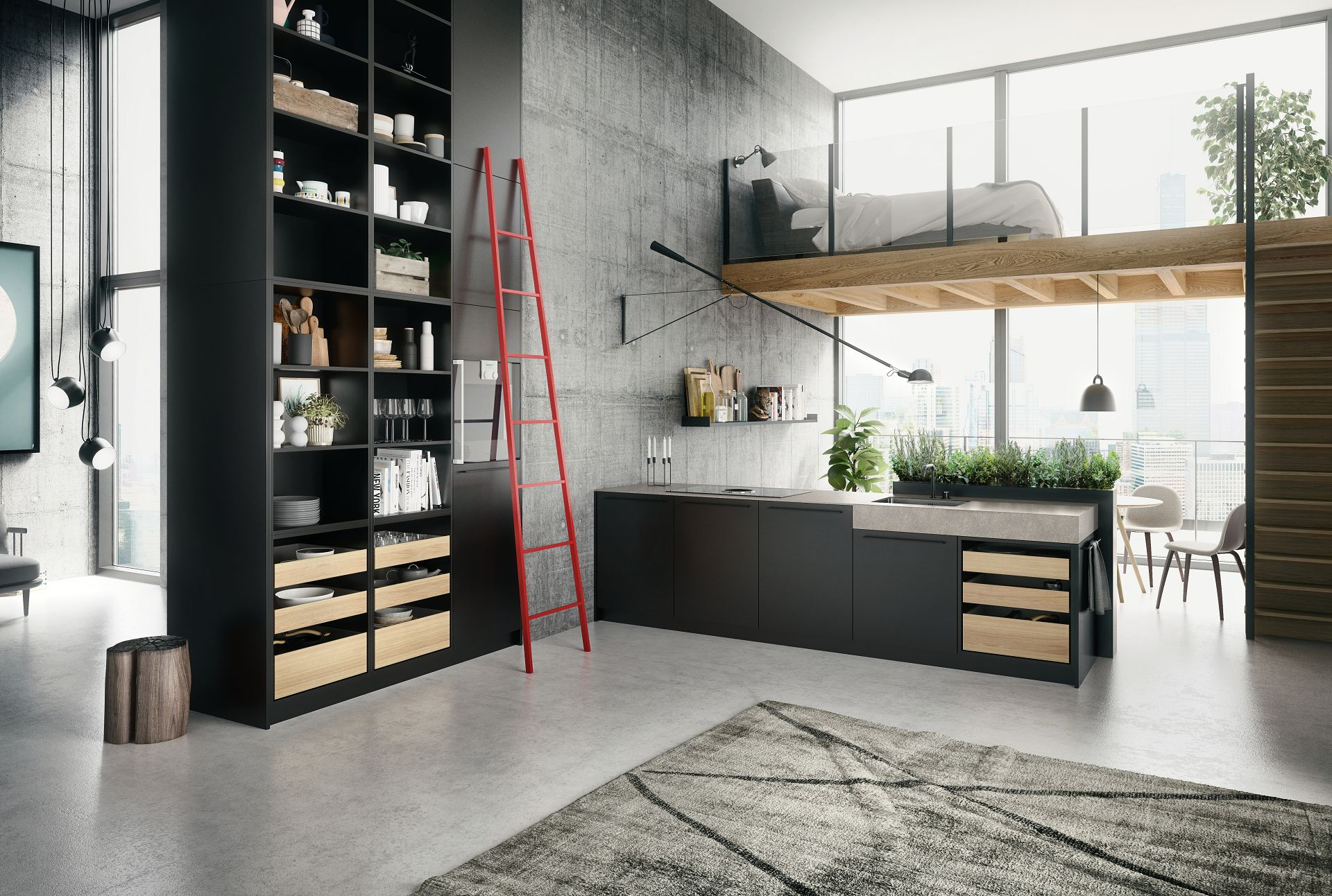 SieMatic Urban SE Kitchen In Graphite Grey With Floor To Ceiling Shelving,  ...