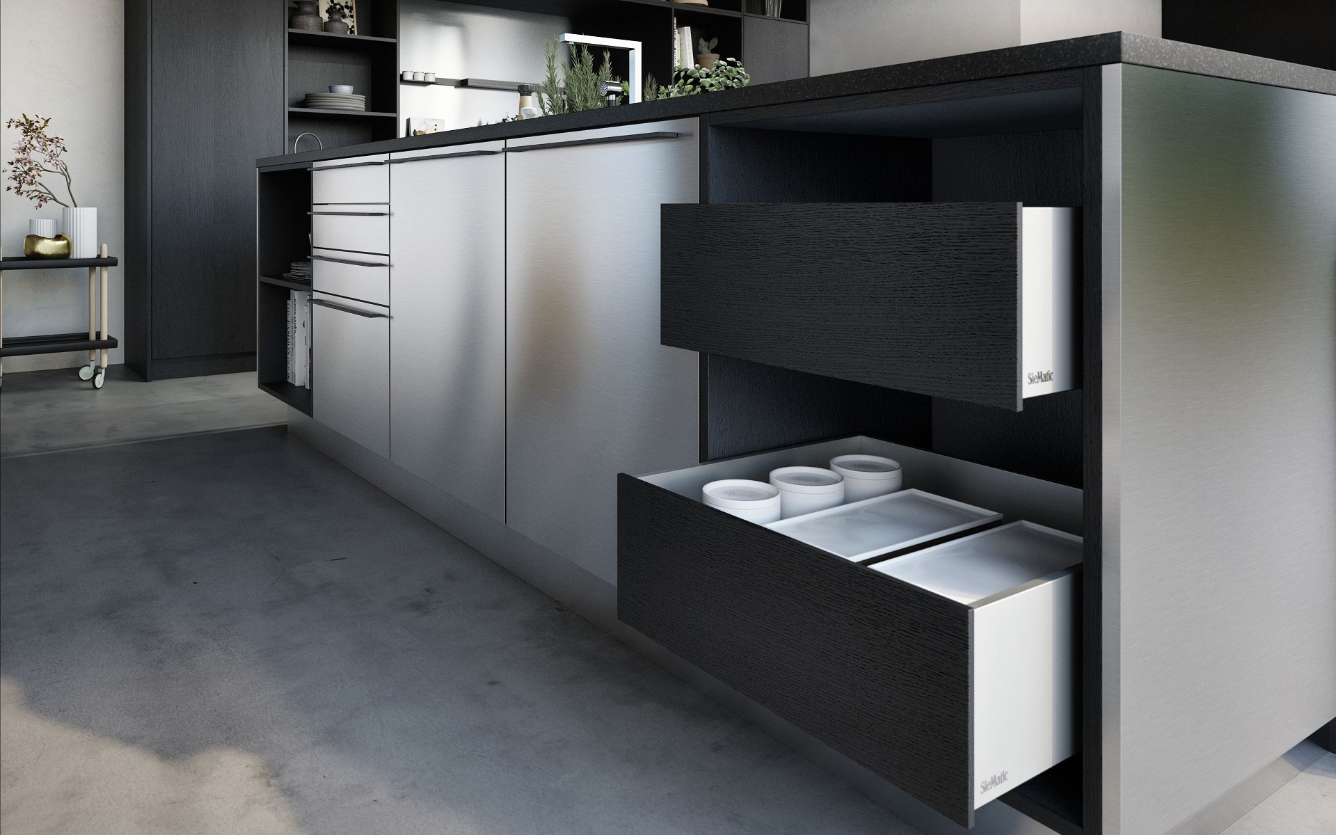 SieMatic Urban SE kitchen island open drawers in graphite oak with aluminum interior accessories