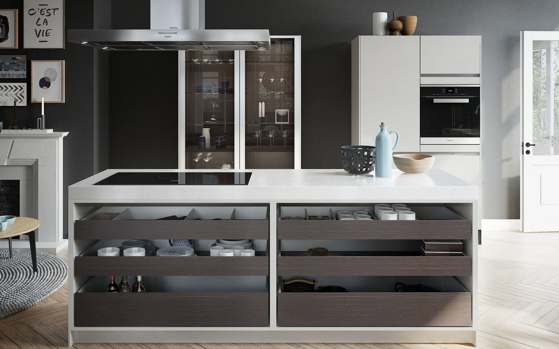 SieMatic kitchen island from the Urban style collection with countertop made from composite stone