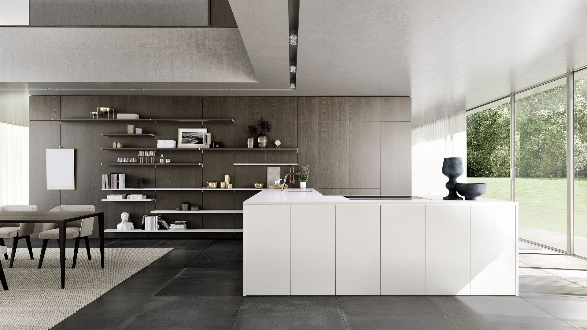Zicht op de SieMatic Pure SE design woonkeuken in lotuswit met wandpaneelsysteem SieMatic FloatingSpaces.