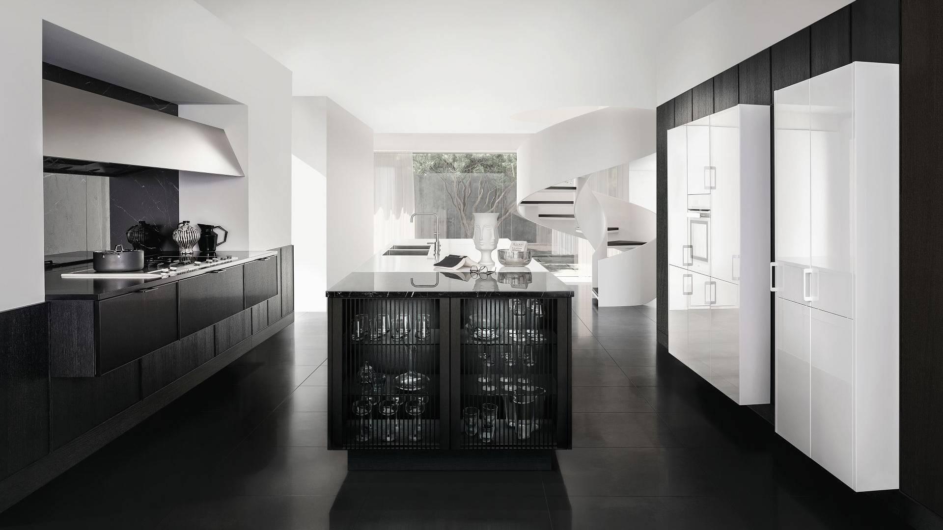 Aperçu de la cuisine design minimaliste SieMatic Pure SE 3003 R en blanc titane et bois de chêne noir mat avec ilot central.