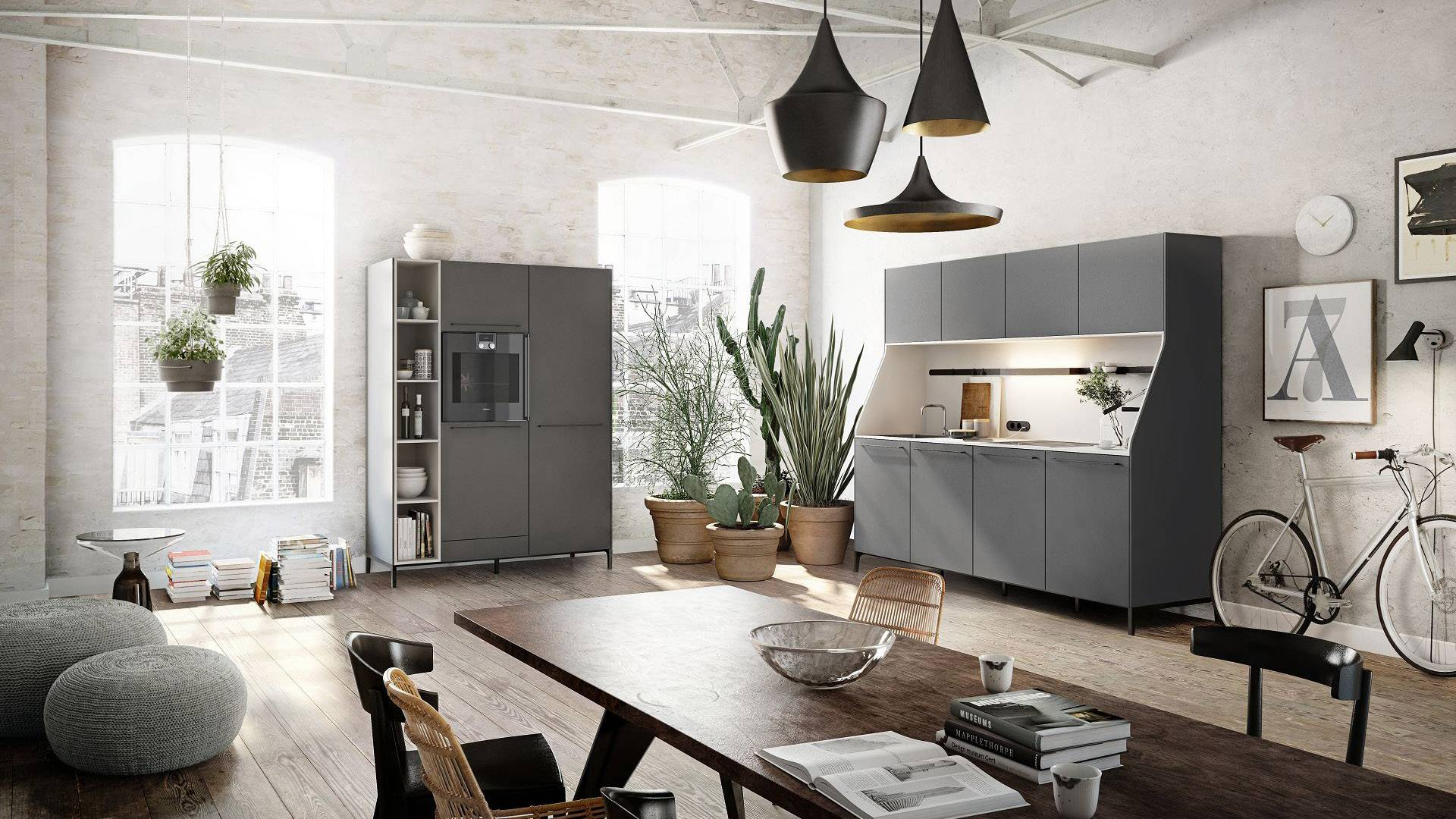 SieMatic 29 kitchen sideboard and freestanding tall cabinet in graphite grey from the Urban style collection